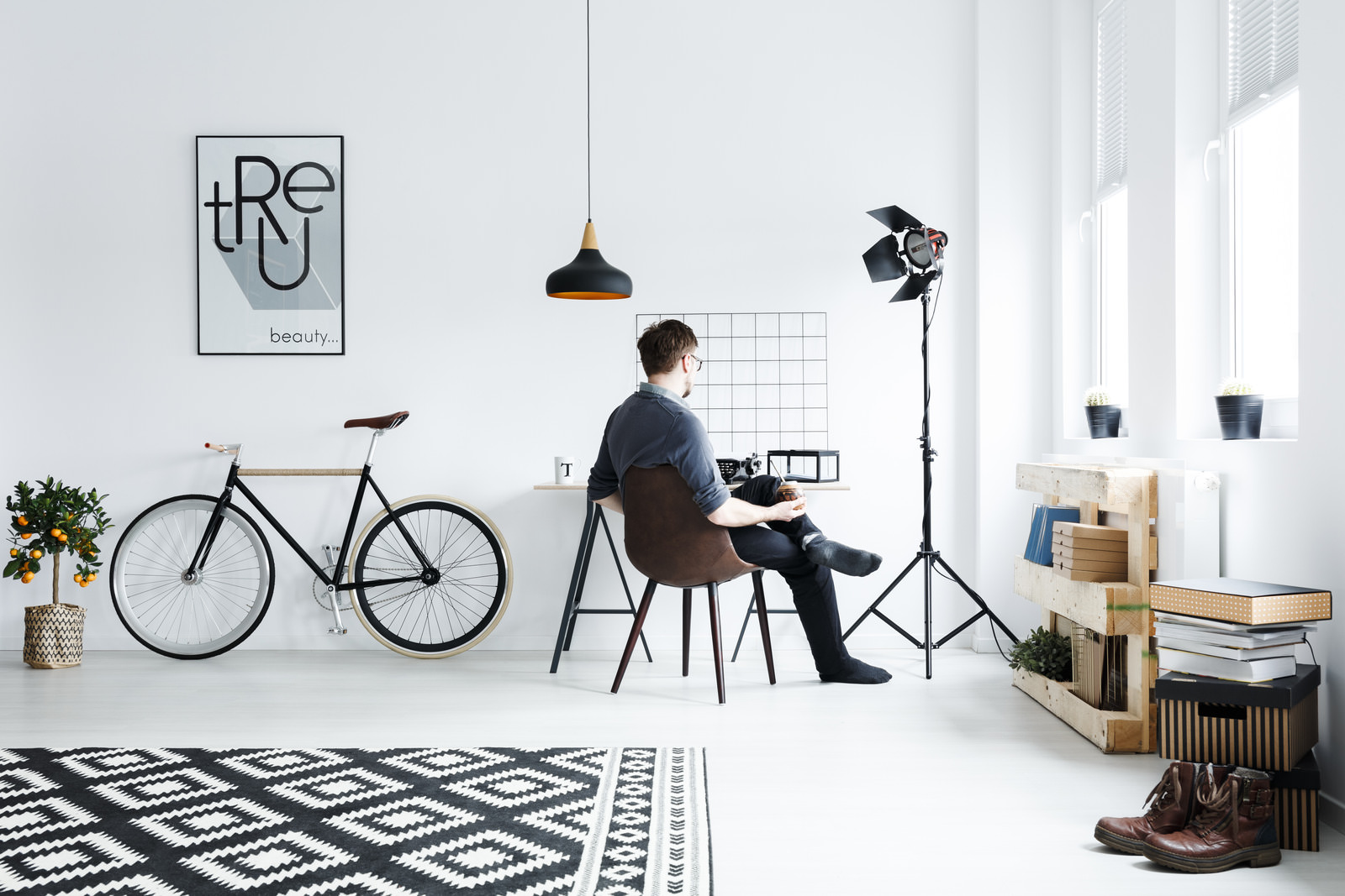 White apartment with desk